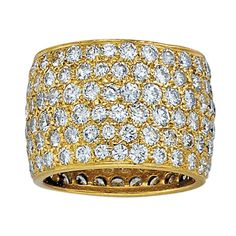 Van Cleef & Arpels Wide Diamond Yellow Gold Band | From a unique collection of vintage band rings at http://www.1stdibs.com/jewelry/rings/band-rings/