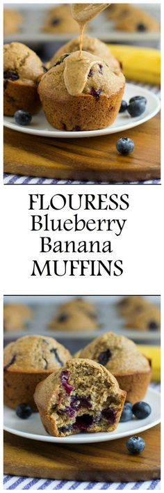 Flourless Blueberry Banana Muffins are a wholesome treat to enjoy for breakfast or a snack. They're made easy in a blender and are gluten-free, oil-free,  dairy-free and refined sugar-free!