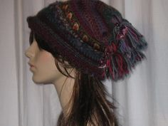 Wild Ripe Rasberry hat with velvet leaves jaquard by foxpaws, $65.00