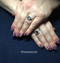 Gel nails - dark purple glitter
