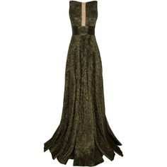 Alex Perry Rhett Lurex Sheer Front Boat Neck Gown ($2,380) ❤ liked on Polyvore featuring dresses, gowns, alex perry, green, sheer dress, cutout gown, boat neck gowns, full length gowns and brown gown