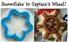 Flower/Snowflake cookie cutter - reinterpreted for use in pirate cookies Summer Cookies, Cookies For Kids, Cut Out Cookies, Fun Cookies, Cupcake Cookies, Decorated Cookies, Birthday Cookies, No Bake Sugar Cookies, Iced Cookies