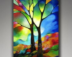 "Abstract tree on canvas, giclee print on stretched canvas from my original painting Two Trees, 24x36"" stained glass trees"