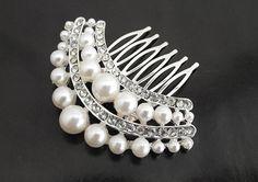 Pearl bridal hair comb wedding hair by nefertitijewelry2009, $29.90