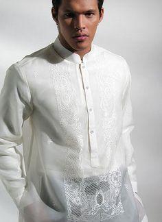 Chinese collar barong wore this on my wedding :) Barong Tagalog Wedding, Barong Wedding, Wedding Dresses Nyc, Wedding Attire, Wedding Entourage, Wedding Suits, Filipino Wedding, Formal Wedding, Wedding Ideas