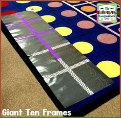Use construction paper and duct tape to make a giant ten frame! Students use paper plates to count with the ten frame! Cardinality Kindergarten, Kindergarten Smorgasboard, Kindergarten Math Games, Preschool Math, Math Classroom, Fun Math, Teaching Math, Math Activities, Ten Frames