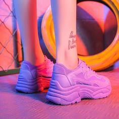 Women's Chunky Sneakers 2019 Fashion Women Platform Shoes Lace Up Pink Vulcanize Shoes Womens Female Trainers Dad Shoes - Pink 8 Moda Sneakers, Sneakers Mode, Sneakers Fashion, Wedge Sneakers, Shoes Sneakers, Women's Shoes, Ladies Sneakers, Shoes Tennis, Fancy Shoes