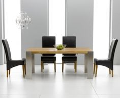 ee4208c32e6f Buy Mark Harris Knightsbridge Oak 180cm Extending Dining Set with 4 Roma  Black Dining Chairs Online - CFS UK