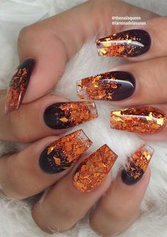 Orange Nail Designs, 3d Nail Designs, Fall Nail Art Designs, Halloween Nail Designs, Halloween Nails, Chrome Nails, Gold Nails, Diy Nails, Cute Nails