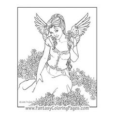 Nafriel By Ina Jane Angel Fantasy Myth Mythical Legend Wings Warrior Valkyrie Anjos Goth Gothic Coloring Pages Colouring Adult Detailed Advanced Printable