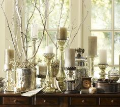 Candlesticks and nature sticks (love the mix)