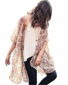 f5a1139c92e74 (eBay link) Relipop Women s Chiffon Blouse Loose Tops Beach Kimono Floral  Print Cardigan
