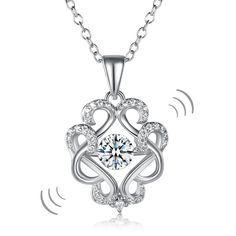 Dancing Stone Vintage Style Pendant Necklace 925 Sterling Silver