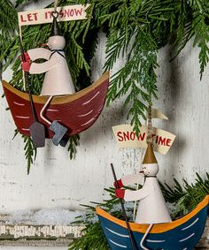 Take a look at this Snowman & Boat Metal Ornament Set by Designs Combined Inc. on #zulily today!