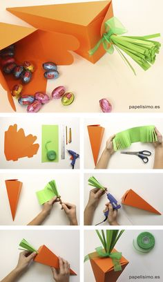 Paper Carrot for Easter Easter DIY Paper Carrots carrot . Bunny Party, Easter Party, Craft Stick Crafts, Diy And Crafts, Paper Crafts, Bunny Crafts, Easter Crafts For Kids, Diy Gift Box, Diy Gifts