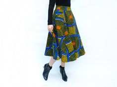 African Print Midi Skirt, African Clothing, Womans Summer Skirt