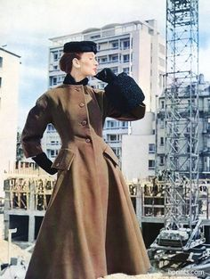 Jacques Fath (Couture) 1954 Coat Fashion Photography
