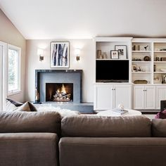 Alamo residence II - Contemporary - Family Room - san francisco - by Kriste Michelini Interiors Fireplace Redo, Fireplace Remodel, Living Room With Fireplace, Fireplace Design, Fireplace Ideas, Simple Fireplace, Living Rooms, Off Center Fireplace, Built In Around Fireplace