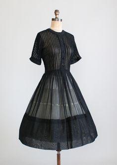 1950s L'Aiglon Sheer Black Shirtwaist Dress