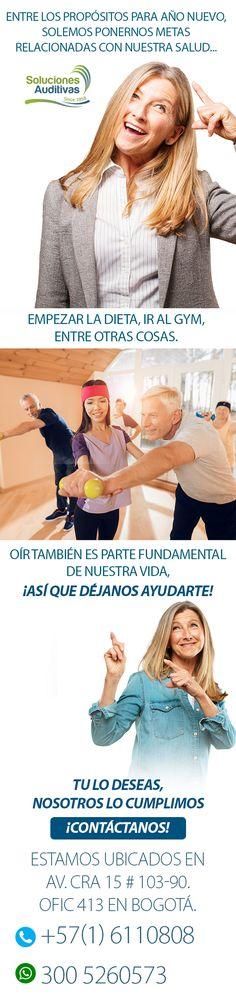 Entre los propósitos para año nuevo, solemos ponernos metas relacionadas con nuestra salud...  Empezar la dieta, ir al Gym, entre otras cosas.  Oír también es parte fundamental de nuestra vida, ¡así que déjanos ayudarte!  Tu lo deseas, nosotros lo cumplimos  ¡Contáctanos!  Estamos ubicados en Av. Cra 15 # 103-90. Ofic 413 en Bogotá. Tel: +57(1) 6110808   WhatsApp: 300 5260573 #SolucionesAuditivas Shopping, Goals, People, Health, Life