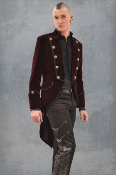 Veste Homme Queue de Pie Gothique Aristocrate Victorien bordeaux