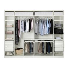 Discover the IKEA PAX wardrobe series. Design your own PAX wardrobe inside and out, from door styles, to shelves, to interior organizers and more. Pax Corner Wardrobe, Ikea Pax Wardrobe, Bedroom Wardrobe, Built In Wardrobe, White Wardrobe, Open Wardrobe, Ikea Wardrobe Storage, Wardrobe Organiser, Ikea Pax Closet