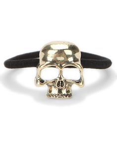 For a Punk Rock Princess: Urban Outfitters Skull #Ponytail Holder, $8; urbanoutfitters.com #hairband
