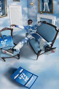 Virgil Abloh Louis Vuitton, Celine, Collages, The Artist Movie, Photoshoot Concept, Pink Suit, Tim Walker, Klein Blue, Blue Aesthetic