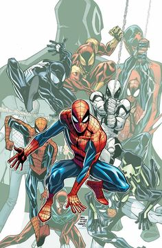 The many faces of Spider-Man.