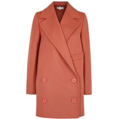 Stella McCartney Edith double-breasted wool blend coat (86.145 RUB) ❤ liked on Polyvore featuring outerwear, coats, double breasted coat, red coat, stella mccartney coat, wool-blend coat and red double breasted coat
