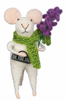 Adorable felted mouse with Be.You.tiful sign violets and a green scarf. Stands 4 inches tall. Bendable. Be.You.Tiful Felted Mouse by Twist. Santa Monica Los Angeles California