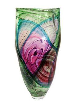 bob crooks glass art | Contour Vase (moss Green With Ruby  Purple) | John Noott Galleries