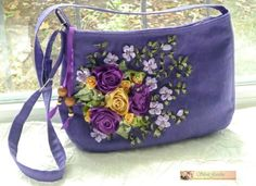 Ribbon embroidery, purse
