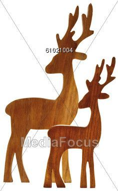 free reindeer wood patterns | Reindeer Figurines Made Wood Clipart - Image 61021004 - Two Reindeer ...