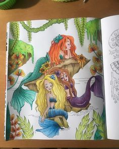 Decided to work on this #wip, mostly #prismacolorpencils on top of #acrylic wash. I used a couple glitter pens as well. Book is #peterpan by #fabianaattanasio Now, to figure out how to color the water and sky... gaaah #colorpenciladdict #coloringbookaddict #coloringbookforadults #coloringbook #lovecoloring #mermaid