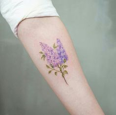 tiny lilac flower tattoo pinteres rh pinterest com Realistic Lilac Tattoos Lilacs and Vine Tattoos
