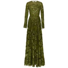 Elie Saab Embroidered Tulle Long Sleeve Gown ($18,650) ❤ liked on Polyvore featuring dresses, gowns, elie saab, green ball gown, long sleeve dress, long sleeve beaded gown, green evening dresses and a line dress