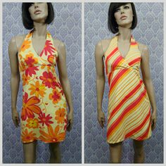 VTG 80s Reversible Sun Dress Sz M Short Mini Halter Mod GoGo Floral Striped USA #HeartSoul #Sundress #SummerBeach #vintage80s
