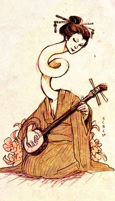 betaminshitto: day 23 - Yōkai yep I wanted to draw a rokurokubi again