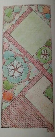 Diagonal garden design plan for narrow garden incorporating paving and shrubs.