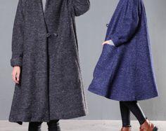 Hooded Wool Coat Jacket Wool Cloak in Green Wool by camelliatune ...