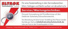 Stellenbezeichnung: Servicetechniker / Wartungstechniker m/w  Arbeitsort: 99085 Erfurt Thüringen, Deutschland  Weitere Informationen unter: http://stellencompass.de/anzeige/?id=139425