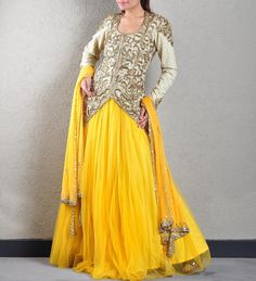 this lehenga is the perfect attire to enter in any special gathering as it comes with an eye catching zardozi embroidered jacket in cream color with a vibrant yellow color skirt