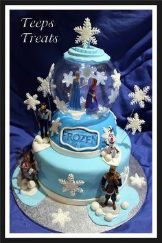 frozen snow globe cake with light