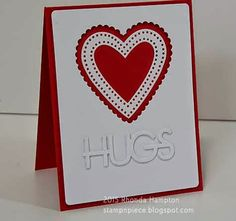 """PTI: Big Hugs die, Limitless Layers 2 1/4"""" hearts, Limitless Layers Heart Stitches; MFT - Blueprints #1, v-day, Stamp n Piece: Hugs"""