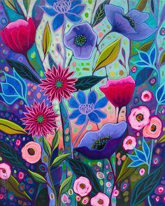 Folk Art Flowers, Flower Art, Colorful Flowers, Easy Flower Painting, Acrylic Painting Techniques, Happy Paintings, Flower Doodles, Mural Art, Wall Art