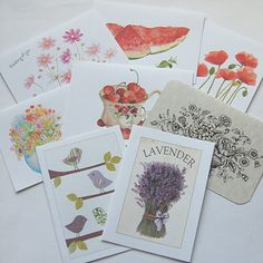 8 Assorted Cards Blank Note Cards Set All by GraceNotesbyCindy