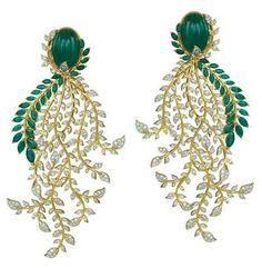 Diamonds and emeralds set in gold earrings, ORRA