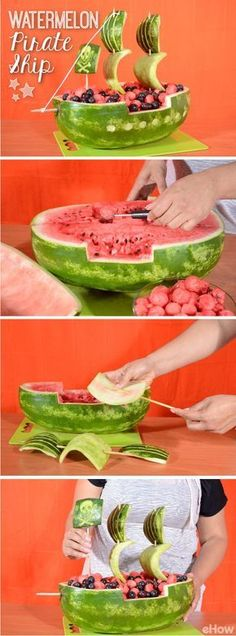How to Carve a Watermelon Into a Pirate Ship Watermelon ship for your next children's birthday party under the motto Pirates. The post How to Carve a Watermelon Into a Pirate Ship appeared first on Kindergeburtstag ideen. Food Carving, Nautical Party, Snacks Für Party, Fruit Party, Fun Fruit, Parties Food, Themed Parties, Easy Snacks, Fresh Fruit