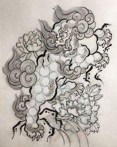 Foo Dog Tattoo Design, Japan Tattoo Design, Japanese Tattoo Art, Japanese Tattoo Designs, Tattoos For Kids, Small Tattoos, Rite De Passage, Japanese Animals, Fu Dog